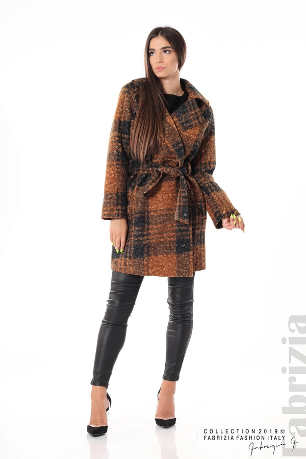 Дамско палто каре кафяв 3 fabrizia