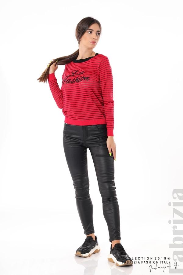 Дамска блуза с прозрачни ленти червен 3 fabrizia
