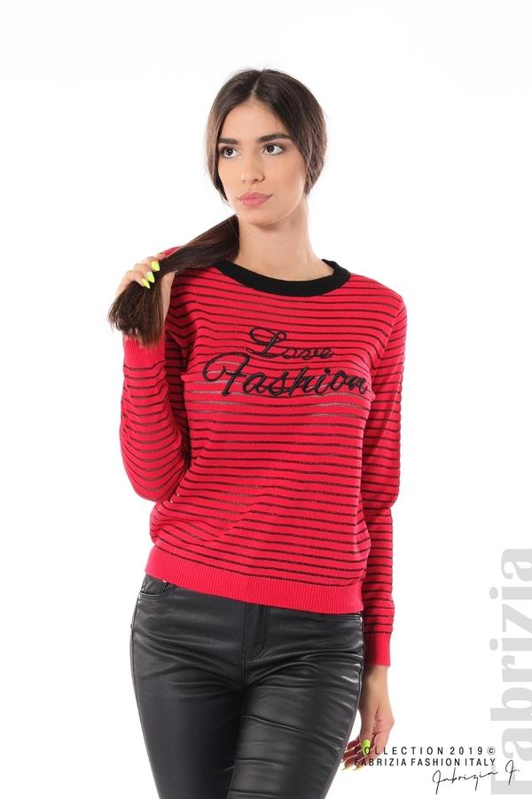 Дамска блуза с прозрачни ленти червен 1 fabrizia