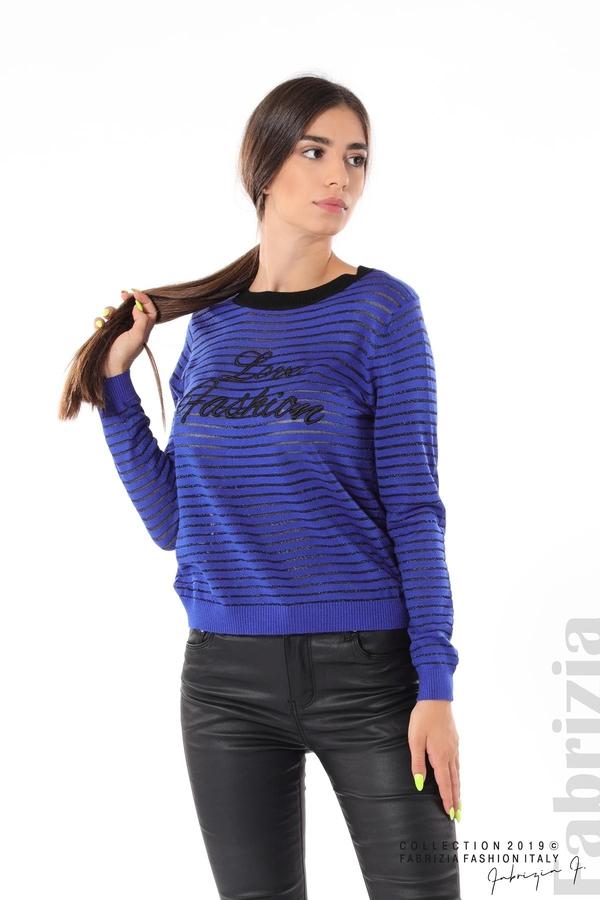 Дамска блуза с прозрачни ленти кр.син 1 fabrizia