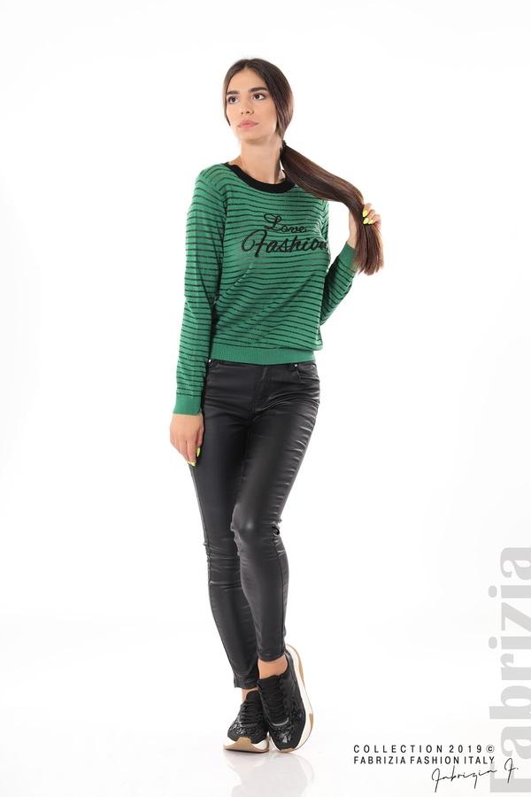 Дамска блуза с прозрачни ленти зелен 2 fabrizia