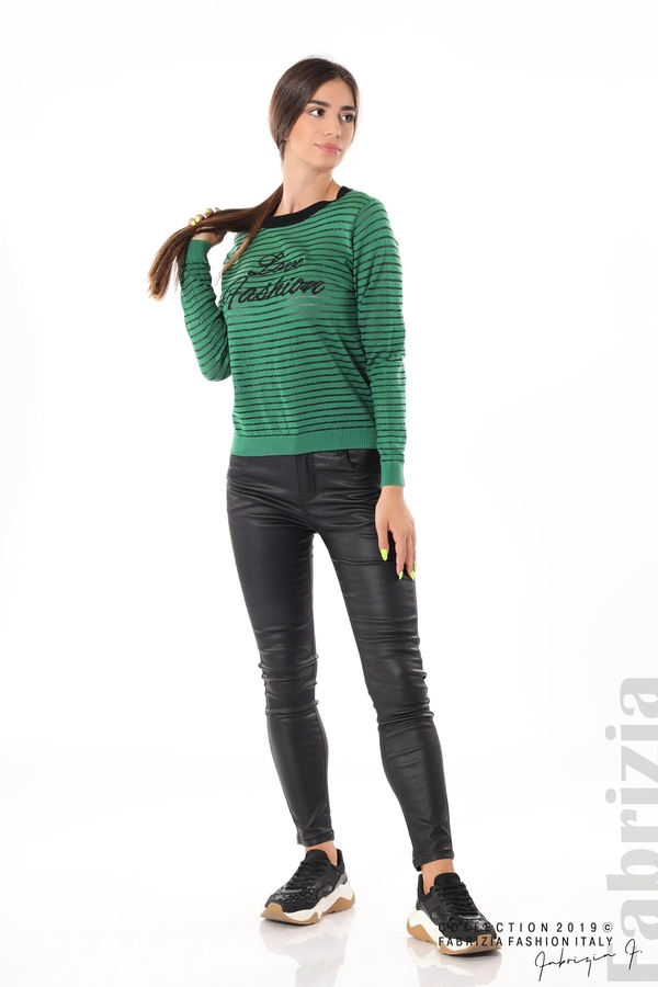 Дамска блуза с прозрачни ленти зелен 3 fabrizia