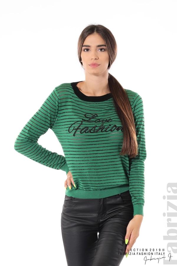 Дамска блуза с прозрачни ленти зелен 1 fabrizia