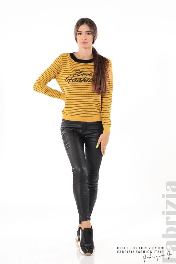Дамска блуза с прозрачни ленти горчица 1 fabrizia