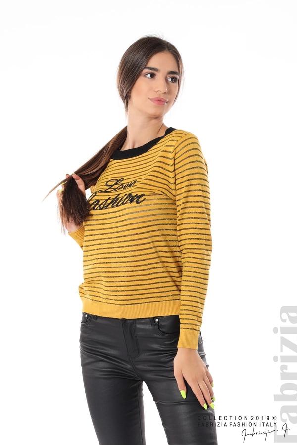 Дамска блуза с прозрачни ленти горчица 2 fabrizia