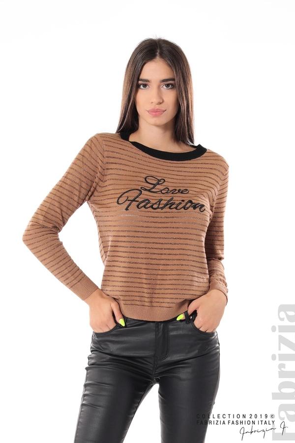 Дамска блуза с прозрачни ленти мляко с какао 2 fabrizia