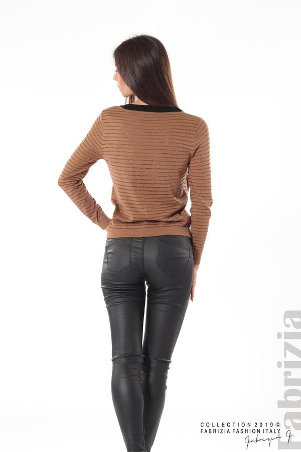 Дамска блуза с прозрачни ленти мляко с какао 4 fabrizia