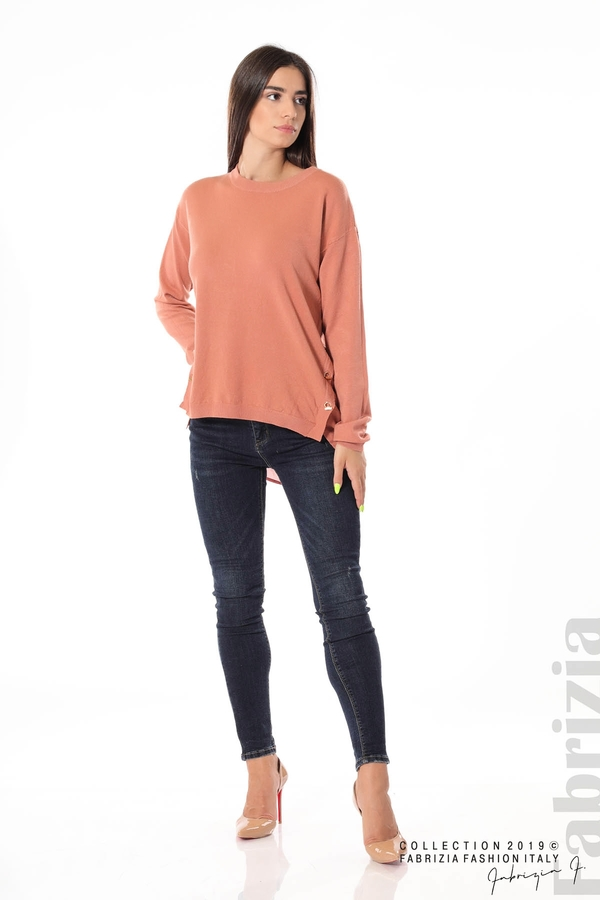 Плетена блуза със странични капси пепел от рози 2 fabrizia