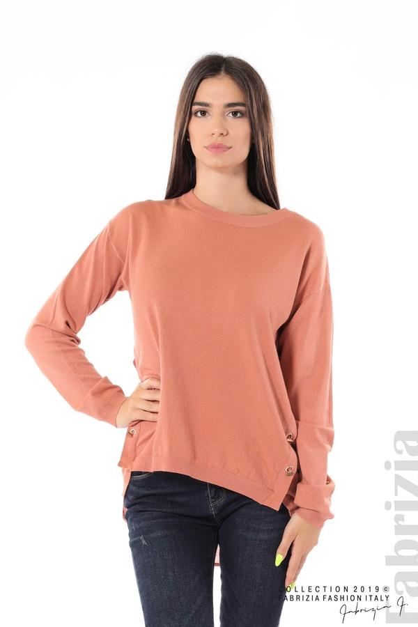 Плетена блуза със странични капси пепел от рози 1 fabrizia