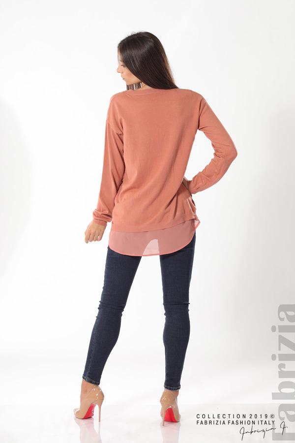 Плетена блуза със странични капси пепел от рози 4 fabrizia