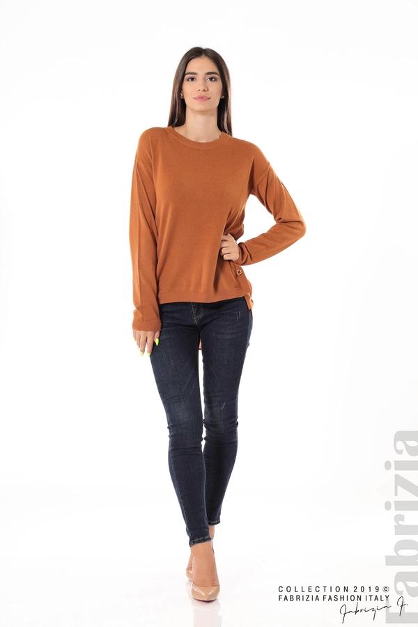 Плетена блуза със странични капси кафяв 1 fabrizia