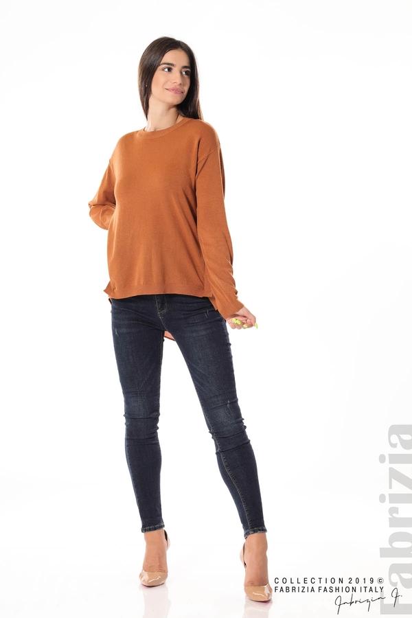 Плетена блуза със странични капси кафяв 3 fabrizia