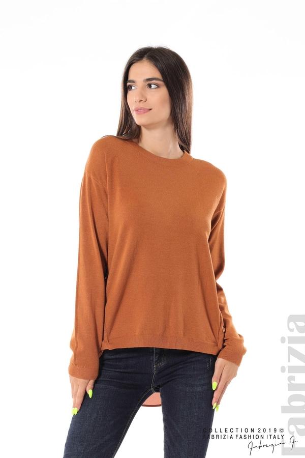 Плетена блуза със странични капси кафяв 2 fabrizia