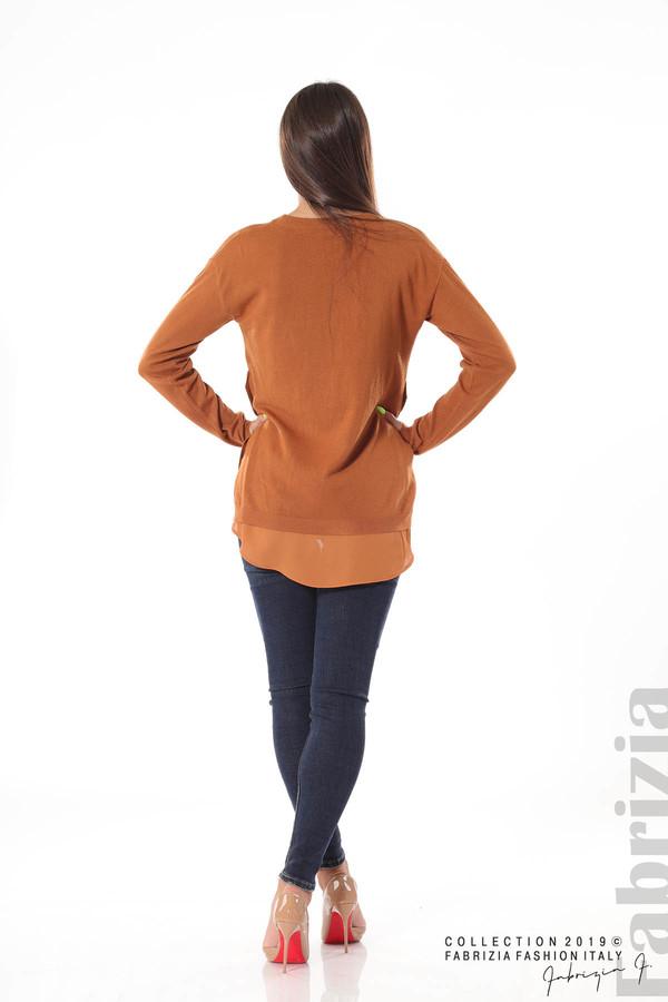 Плетена блуза със странични капси кафяв 4 fabrizia