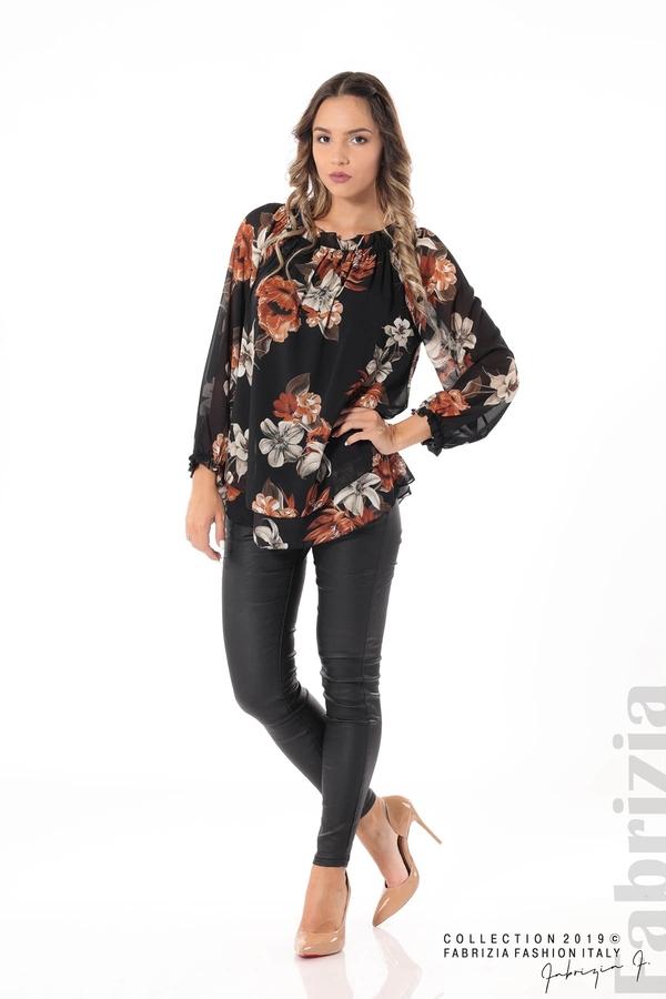 Ефирна блуза на цветя черен 3 fabrizia