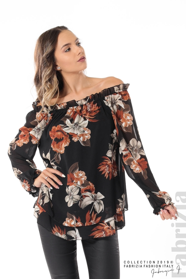 Ефирна блуза на цветя черен 1 fabrizia