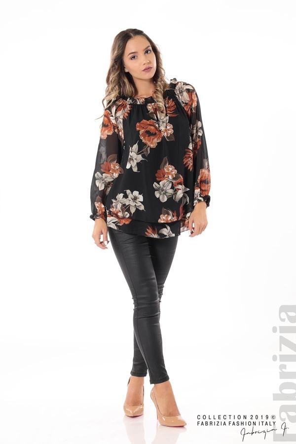 Ефирна блуза на цветя черен 2 fabrizia