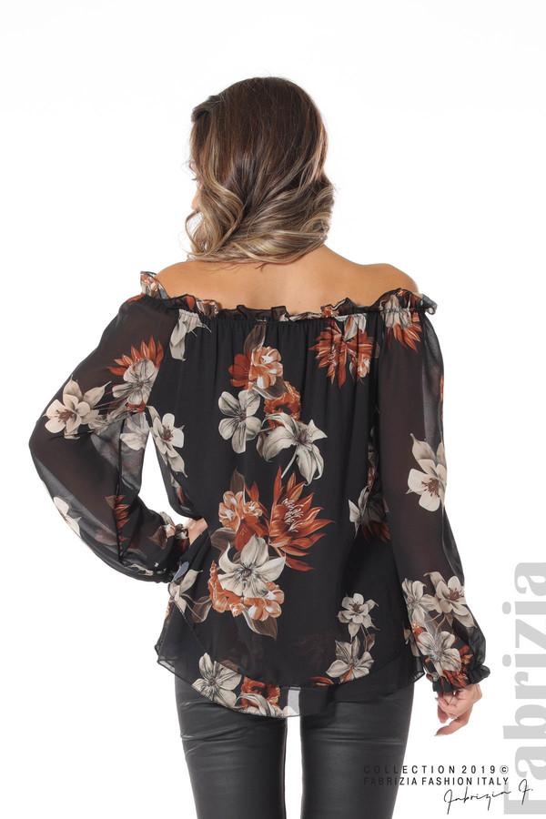 Ефирна блуза на цветя черен 5 fabrizia