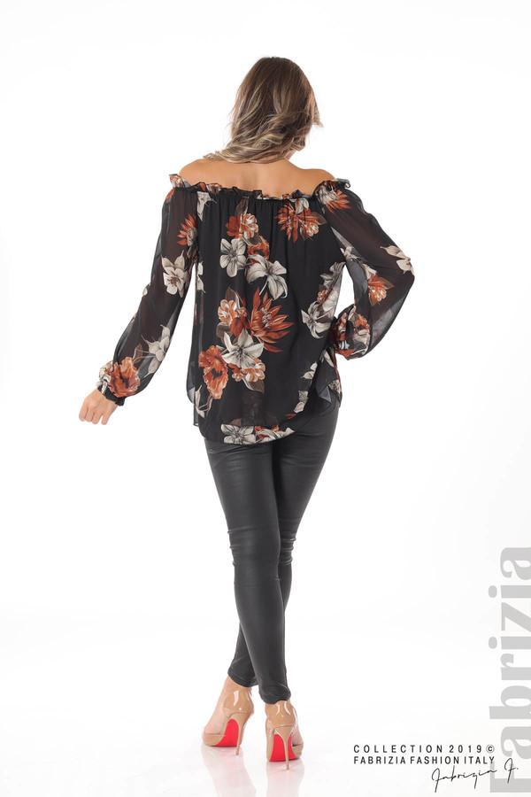 Ефирна блуза на цветя черен 4 fabrizia